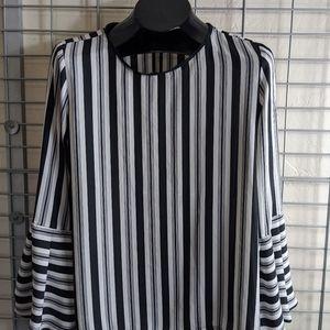 LOFT Black and White Striped Blouse Size XS